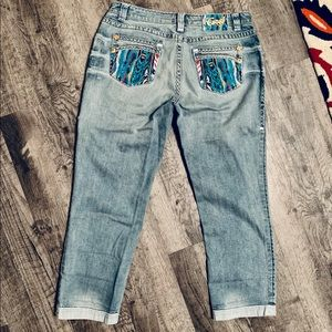 Coogi Cropped Stretch Jeans Turquoise Size 9/10